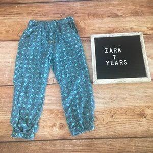 Zara Girls Medallion Print Pants 7 Years Blue